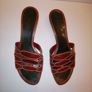 Cole Haan Resort kitten heel leather red sandals